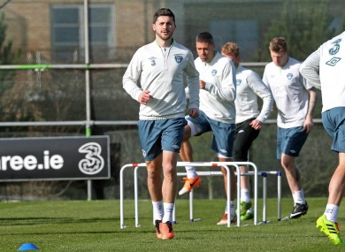 Long: trained in Malahide yesterday ahead of Serbia clash.