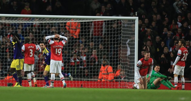 Disastrous last-minute Flamini own goal adds to Arsenal woes