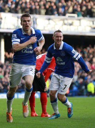 Coleman and (right) Aiden McGeady celebrate his goal against Cardiff last week.
