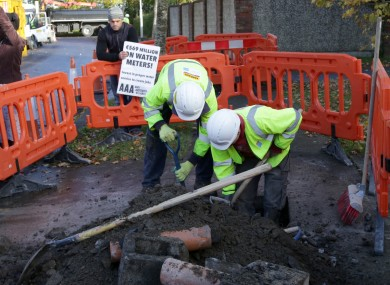 File photo of Irish Water workers installing a meter.