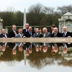 Minister of State at the Department of Finance Brian Hayes TD, a former BIPA member, (centre) and Irish Co-Chair Joe McHugh TD (seventh left) along with with members of the British Irish Parliamentary Assembly during a visit to the Irish National War Memorial Gardens, Islandbridge, Dublin. <span class=