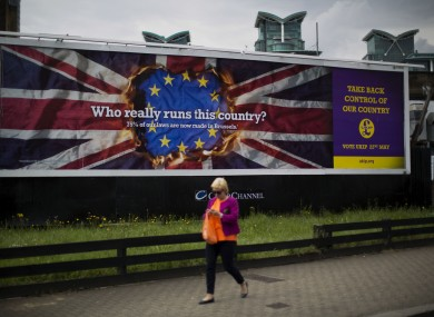 A UKIP European election billboard is displayed in the Vauxhall area of London