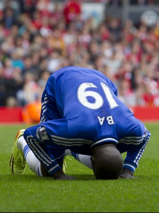 Chelsea's Demba Ba celebrates after scoring against Liverpool.