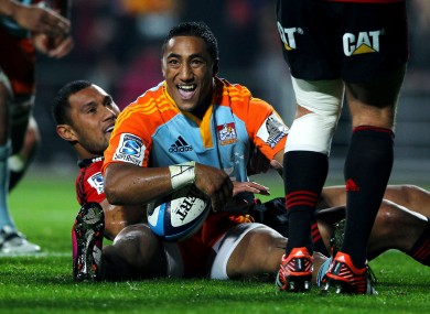 Aki scores for the Chiefs in Super Rugby.