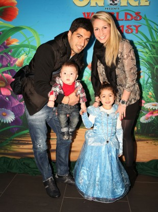 Luis Suarez his wife Sofia Balbi and their children, Benjamin and Delfina, arriving for Disney On Ice at the Echo Arena in Liverpool.