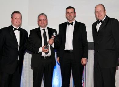 L-R: Liam Brew, ESS Salesforce, EirGrid's East West Interconnector team members Philip Jordan and Peter Lantry alongside Ivan Yates