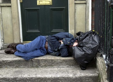 A young man sleeping rough on the streets of Dublin.