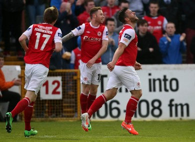 James Chambers celebrates his goal for St Pats.