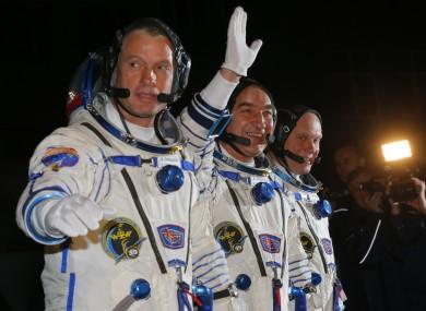 US astronaut Steven Swanson and Russian cosmonauts Alexander Skvortsov & Oleg Artemyev at the Baikonur cosmodrome, Kazakhstan.