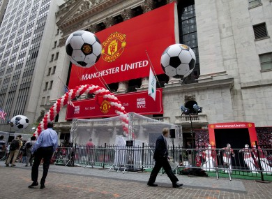 A Manchester United banner hangs on the facade of the New York Stock Exchange (file pic).