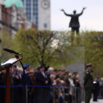 Commandant Jayne Lawlor speaks to the assembled crowd. <span class=