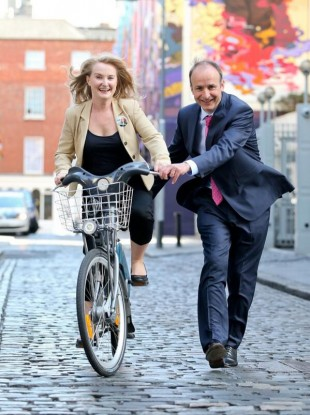 Mary Fitzpatrick with party leader Micheál Martin in Dublin earlier today