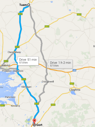 The current Gort to Tuam route along the N17 and N18