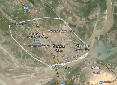 Sukkur, where the crash happened.
