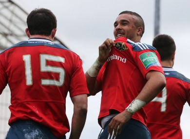 Felix Jones (15) and Simon Zebo.