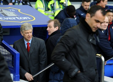 Everton manager Roberto Martinez  and Arsenal boss Arsene Wenger before yesterday's game.