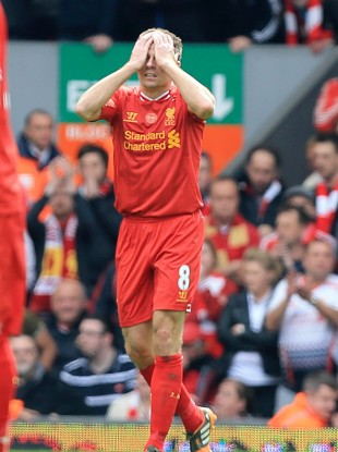 Steven Gerrard dejected at the final whistle.