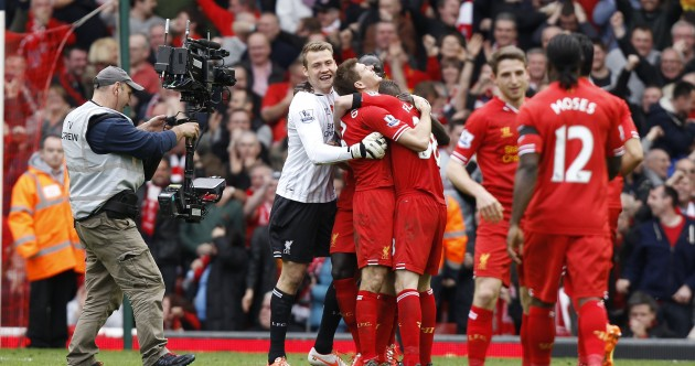 VIDEO: Emotional Steven Gerrard gathers Liverpool in for post-match team-talk as title comes within reach