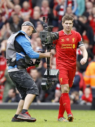 Gerrard leaves the pitch after yesterday's game.