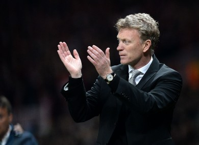 Manchester United manager David Moyes leaves the pitch after his team's 1-1 draw with Bayern Munich.