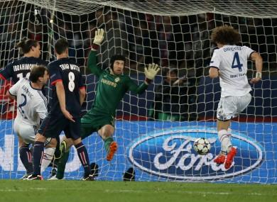 Chelsea's David Luiz scores an own goal in tonight's game.