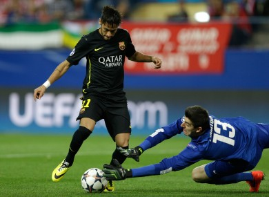 Courtois in action against Barcelona on Wednesday night.