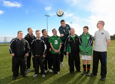 Coleman with Special Olympic athletes (L-R) Gerard McNulty, Paul Roban, Darren Warren, Matthew O'Neill, Gary O'Brien, Patrick O'Shea, Jordan Fahy and Patrick Morgan