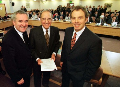 L TO R. Bertie Ahern with Senator George Mitchell and Tony Blair at Castle Buildings after they signed the peace agreement