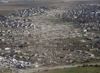 The devastation of a tornado in the US.