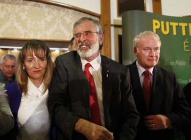 Sinn Fein President Gerry Adams with Martina Anderson and Martin McGuinness last night.