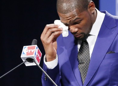 Durant couldn't fight the tears at last night's announcement in Oklahoma City.