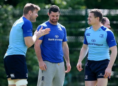 Heaslip [left] shares a joke with Rob Kearney and Brian O'Driscoll.