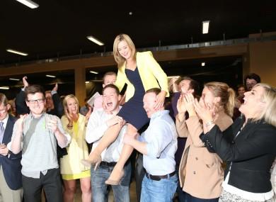 Kate Feeney celebrates her election in the Blackrock ward.