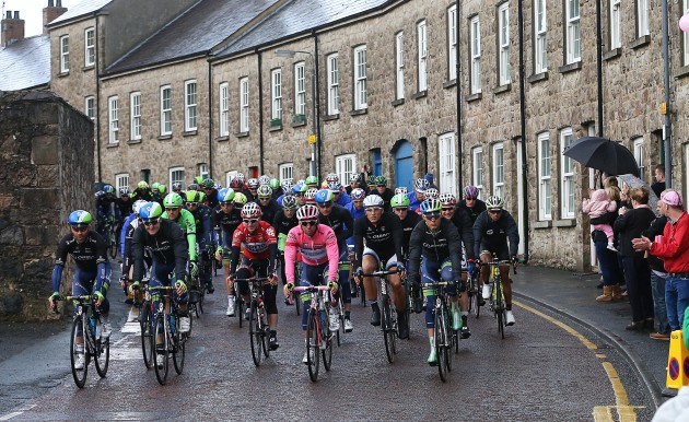 Michael Matthews leads the peloton through Armagh