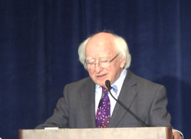 President Higgins delivers his speech.