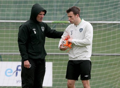 Roy Keane gives Ireland defender Seamus Coleman some directions.