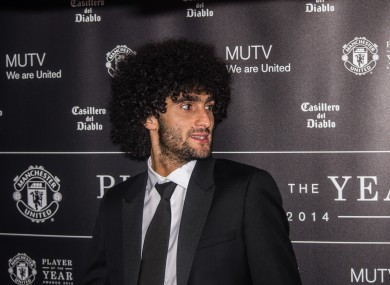 Fellaini at the club's player awards night this week.