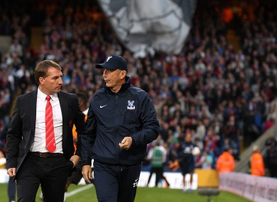 Brendan Rodgers and Tony Pulis before kick-off.
