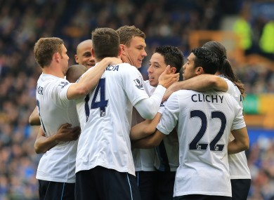 Manchester City's Edin Dzeko (centre) celebrates scoring his goal against Everton at the weekend.