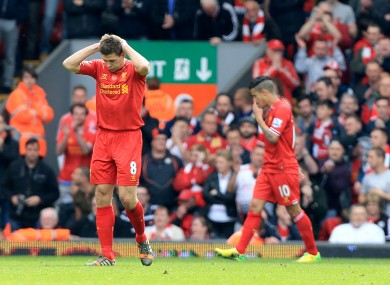 Steven Gerrard appears dejected during Liverpool's game with Chelsea at Anfield.