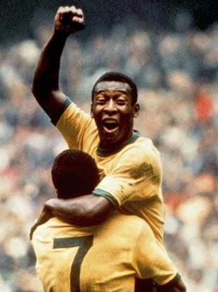 Pele celebrates in 1970.