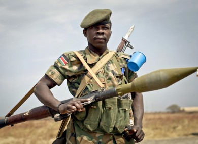 A South Sudanese government soldier stands guard at Malakal, Upper Nile State in January of this year.