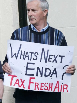 Christy Doran from Mullingar protests over the water charges.