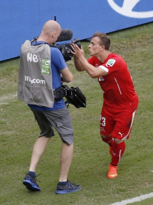 Xherdan Shaqiri celebrates his first goal.