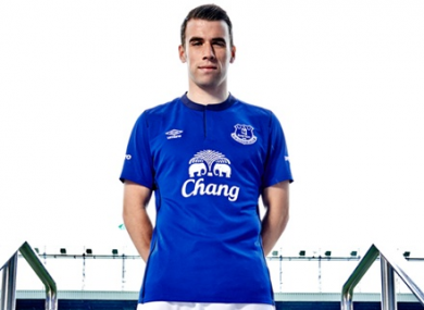 Seamus Coleman pictured in the new Everton kit.