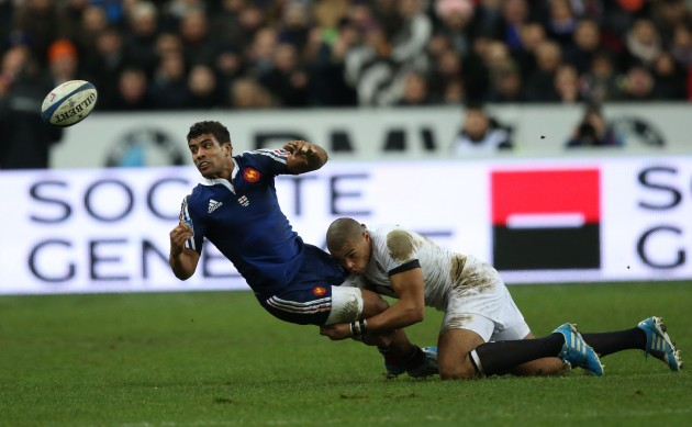 FranceÕs Wesley Fofana is tackled by EnglandÕs Courtney Lawes