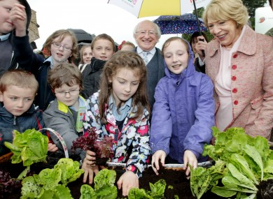 President Higgins with the winners of the Grow it Yourself competition at Bloom