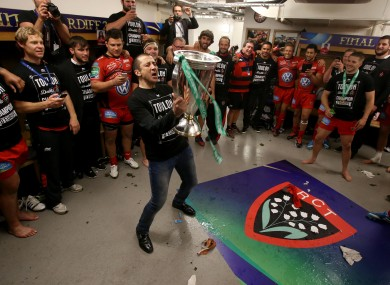 Boudjellal celebrates with the Toulon players after the 2014 Heineken Cup success.