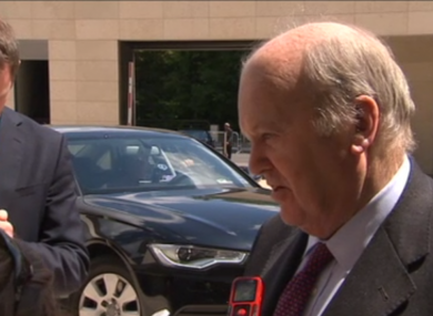 Noonan arriving a meeting of EU finance ministers this morning.