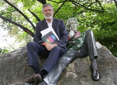 Sinn Féin's Gerry Adams sitting beside Oscar Wilde in Merrion Square this week
